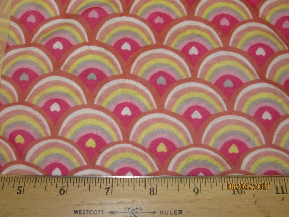Horizon of Rainbow Hearts cotton Jersey Knit Knit Fabric