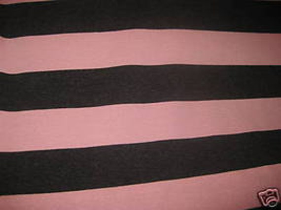 "Dark grey (almost black) and pink knit 1.5"" wide Stripe Knit Fabric"