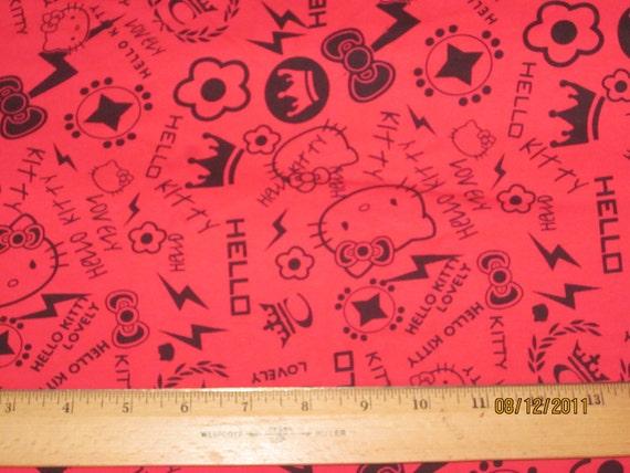 Cute Kitty Red Punk Graffiti Cotton Knit FAbric
