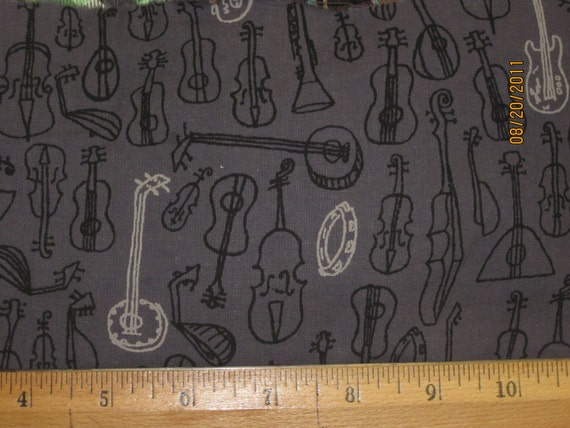 Musical Instruments on Dk Grey Cotton Woven