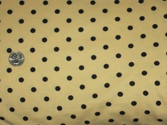 Black eraser POlka Dot on Banana Yellow Cotton Knit Fabric