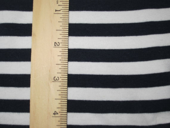 "3/8"" Navy Blue and White Stripe Cotton Lycra Knit Fabric"