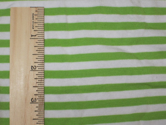 "Apx 1/4"" Lime Green and White Cotton Lycra Stripe Knit FAbric"