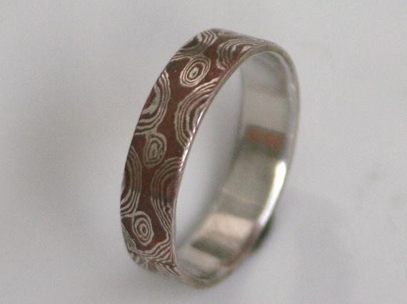 Silver and Copper Mokume Gane Band Wedding Ring