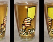 Yellow or red card soccer fan pint glass