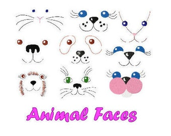 Animal Faces, 9 Designs - Machine Embroidery