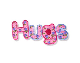 Hugs Applique, 3 Sizes - Machine Embroidery