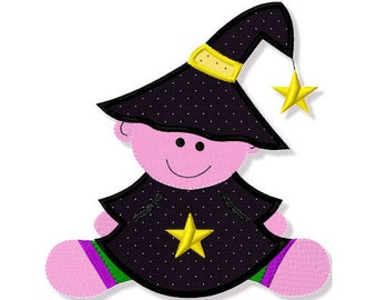 Baby Witch Applique, 3 Sizes - Machine Embroidery
