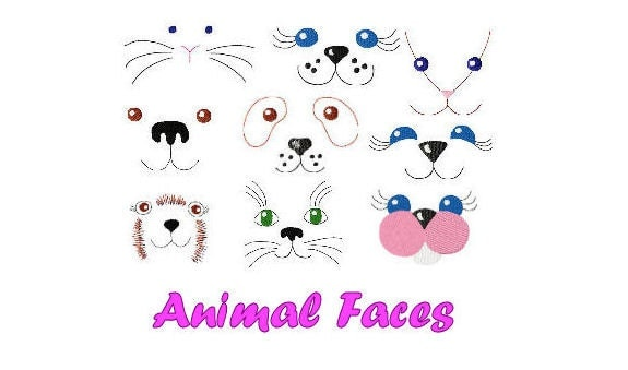 Animal Faces 9 Designs Machine Embroidery