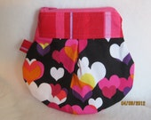 Large Hearts on Black Key Keeper Coin Purse