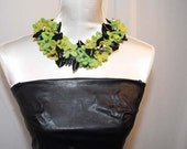 RESERVED FOR 1applejack Black Magic floral felt OOAK fiber art crochet necklace black- electric green