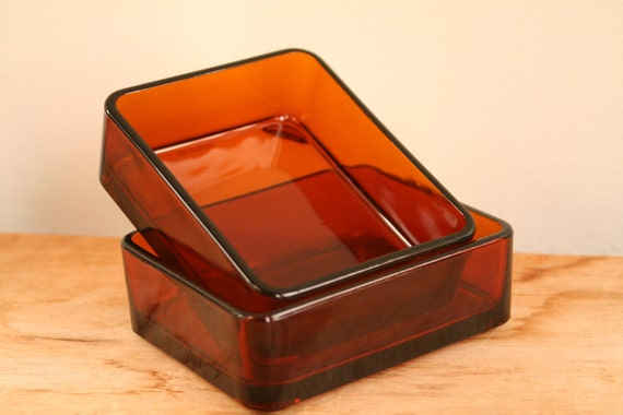 33% OFF MARKED PRICE - Vintage French Vereco Brown Glass Rectangular Dishes - Mid Century Modern