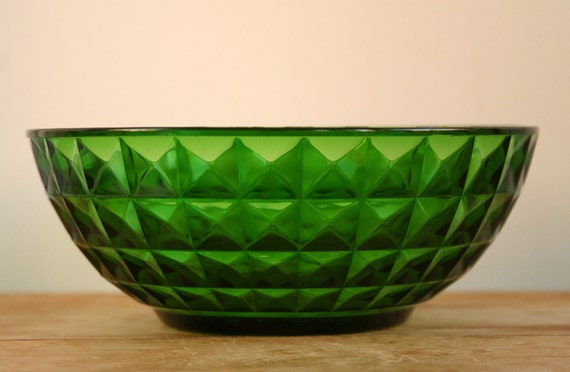 Vintage French Green Cut Glass Serving Bowl