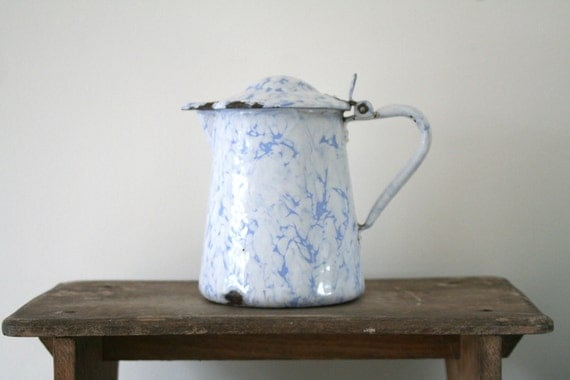 33% OFF MARKED PRICE - Vintage Belgian Marbled Enamel Jug - Country Cottage/Shabby Chic