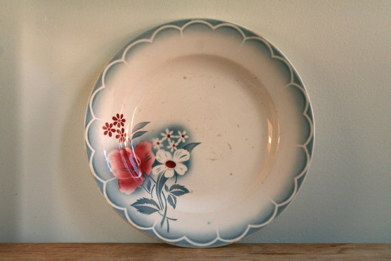 20% Off Summer Sale - Vintage French Digoin Sarreguemines Floral Platter - Shabby/Country Chic