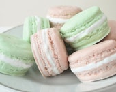 Handmade Soaps - French Macaron - 2 macaroons - food soap - pastel chocolate and mint green