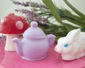 Alice in Wonderland Soap Gift Set  - Fairytale soap - White Rabbit, Tea Pot and Mushroom Soap - Red Velvet Cake & Roses
