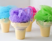 Soap on a Rope - Ice Cream Soap with shower poof puff - cute soap - Cotton Candy, Cupcake or Lime Sugar