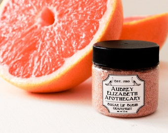 Grapefruit Sugar Lip Scrub - Citrus -100% natural & vegan -  2 in 1 scrub and balm - Pink Grapefruit - edible lip scrub