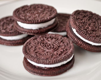 Chocolate Oreo Cookie Soaps  - Cookie shaped soap - creme filled sandwich cookie - novelty soap