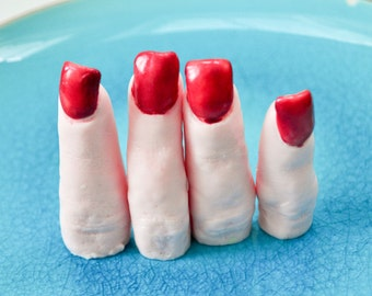 Halloween Soap - Lady Finger Soaps - Creepy Soap - Ruby Red Nails