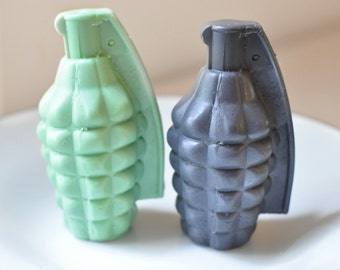 Grenade Soap - Man soap - Handmade Glycerin Soap - mens soap - Army Green