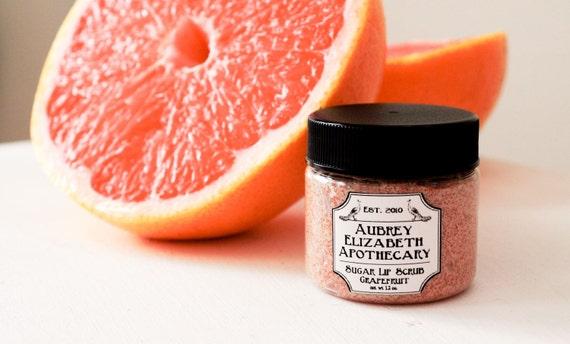 Grapefruit Sugar Lip Scrub - Citrus -100% natural & vegan -  2 in 1 scrub and balm - Pink Grapefruit - edible lip scrub