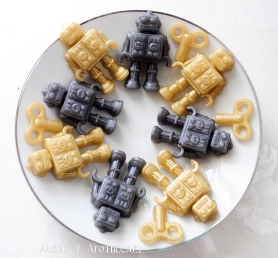Robot Soap - Mr. & Mrs. Roboto - Pear scented - Vegan Soap - novelty soap