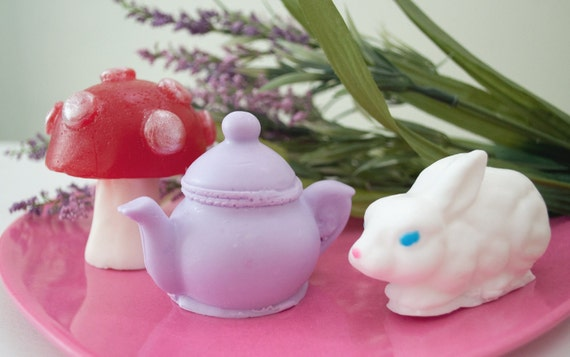 CLEARANCE: Seconds - Alice in Wonderland Soap Gift Set  - Fairytale soap - White Rabbit, Tea Pot and Mushroom Soap - Red Velvet Cake & Roses
