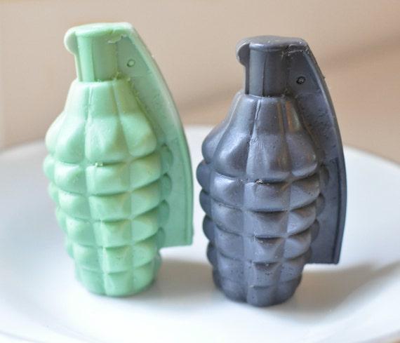 Custom Order for Cait: 4 Grenade Soaps - Handmade Glycerin Soap - mens soap