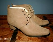 Reserved - Vintage Suede Lace Up Ankle Boots Size 40, Womens 9