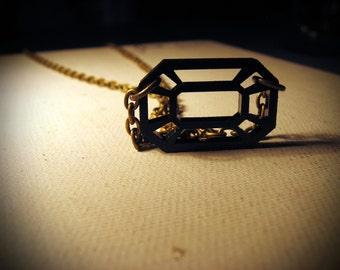 The Rectangle Black Diamond Necklace