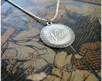 Vintage French Word 'Non' Necklace