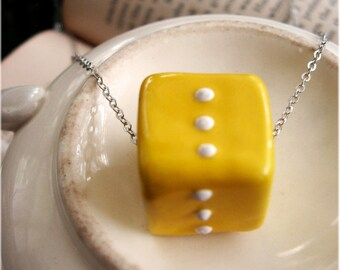 Retro Yellow Cube Necklace