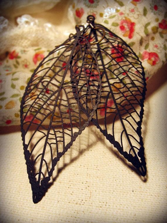 Ornate Black Leaf Earrings