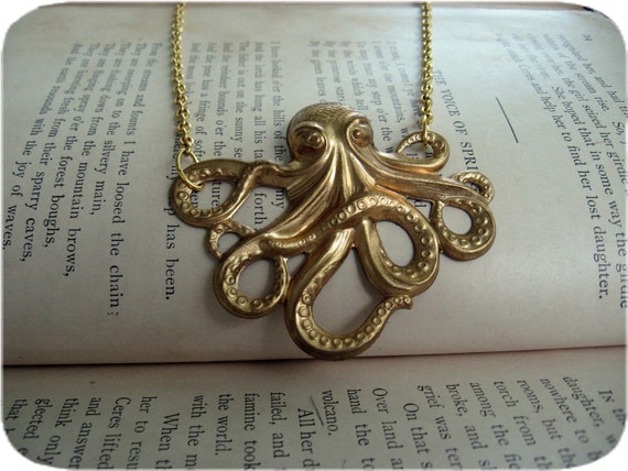 Bright Gold Octopus Necklace