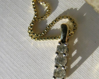 3 Diamond Pendant set in 10K yellow gold      VJSE