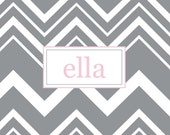 Personalized laminated placemat: 11 x 17 Chevron Design