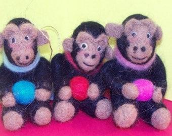 Wool Felted Monkey Ornament