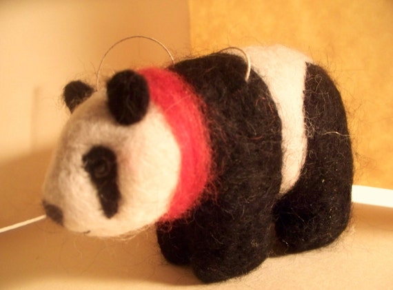 Felted Panda Ornament