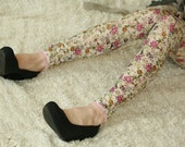 Lace leggings with flower print