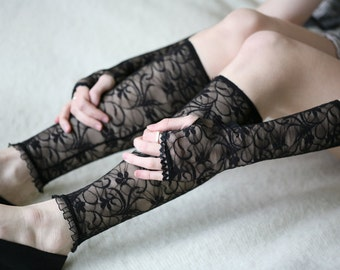 Black lace Arm warmers
