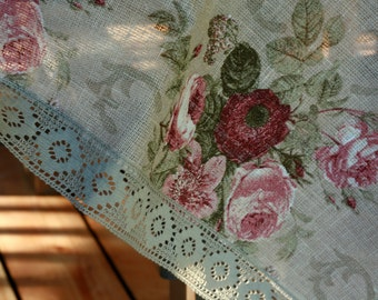 Floral rose linen tablecloth