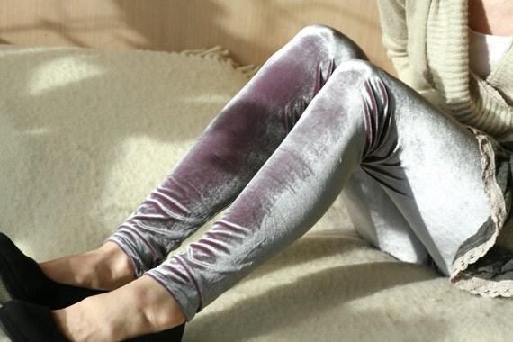 Violet and silver velvet leggings