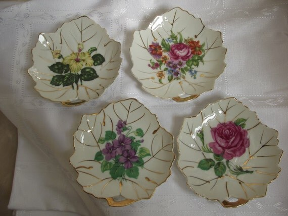Vintage Viceroy China Leaf Shaped Candy or Trinket Dishes Painted with Flowers Set of 4