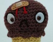 "CUSTOM Ouch Cream Cone in Chocolate -  ""antigurumi"" amigurumi figure"