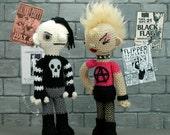 "The Odd Couple - (Ready to ship) punk girl and goth boy couple ""antigurumi"" amigurumi"