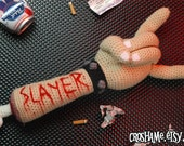 "Crochetin' in Blood -  CUSTOM ""Antigurumi"" dismembered arm with SLAYER carving"