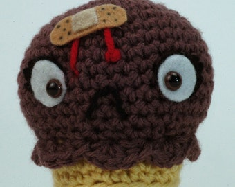 "CUSTOM Ouch Cream Cone in Chocolate -  ""antigurumi"" amigurumi figure"