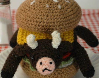"Very Rare Indeed - (Ready to ship) crocheted cowburger ""Antigurumi"" amigurumi"